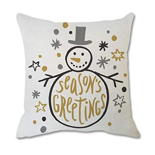 jieGorge Christmas Cotton Linen Throw Pillow Case Cushion Cover Home Sofa Decor, Home Decor for Christmas Day (D)