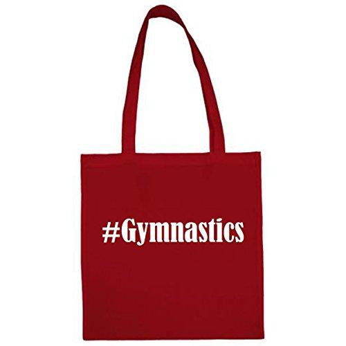 Tasche #Gymnastics Größe 38x42 Farbe Rot Druck Weiss