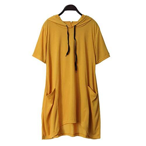iHENGH Damen Top Bluse Bequem Lässig Mode T-Shirt Blusen Frauen beiläufiges festes Katzen Ohr mit Kapuze kurzes Hülsen Taschen Oberseiten Blusen Hemd(Gelb-5, 2XL)
