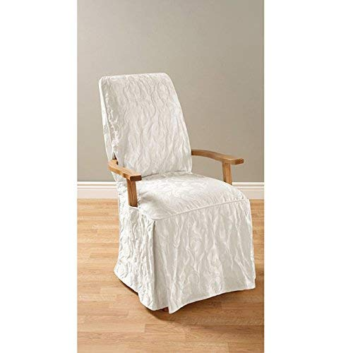 SURE FIT Matelasse Damask Arm Long Dining Room Chair Cover-White