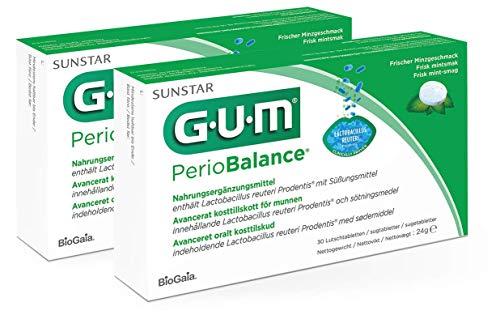 GUM PerioBalance Lutschtabletten/Nahrungsergänzungsmittel für das Zahnfleisch/Enthält das patentierte Bakterium Lactobacillus reuteri Prodentis/angenehmer Minzgeschmack / 2 x 30 Stück