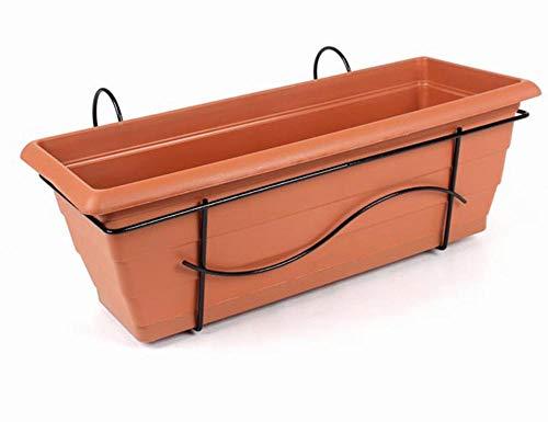 FloraSun® Balkonkasten aus Metall/Kunststoff, 50 x 17 x 17,5 cm, mit Halterung und Wasserspeicher, bis 15 kg, 10 L Fassungsvermögen, in Terra