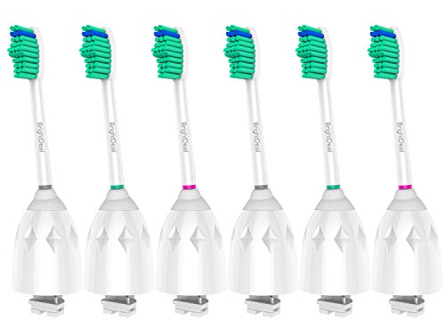 BrightDeal Replacement Toothbrush Heads compatible with Philips Sonicare E Series HX7022/66, Essence, Xtreme, Elite and Advance (6-Pack)