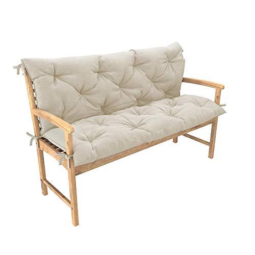 chilly pilley Bankkissen Relax Palettenkissen mit Rückenlehne Gartenschaukelkissen mit Nähten gesteppt Gartenkissen Sitzpolster Hollywoodschaukel (120x50x50, Creme)