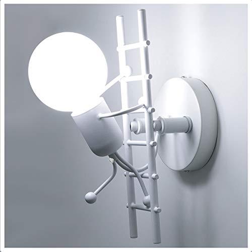 HAWEE Humanoide Creativo Lámpara de Pared Interior Luz de Pared Moderno Apliques de Pared Art Deco Max 60W E27 Base para Niños, Dormitorio, Escaleras, Pasillo,Cocina, Restaurante
