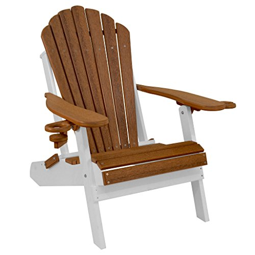 Outer Banks Deluxe Oversized Poly Lumber Folding Adirondack Chair (Aruba Blue)