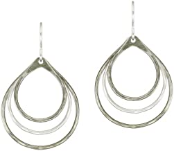 product image for Marjorie Baer Tiered Teardrop Earring in Silver and Antique Silver