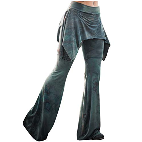 High Waisted Flare Palazzo Wide Leg Pants Comfy Bell Bottoms Lounge Pants for Women Yoga Casual Wear (M, Army Green)
