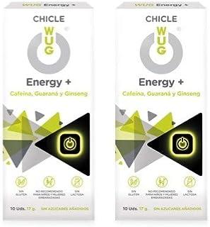 comprar comparacion WUG Energy+ Chicle Ideal para Deportes Extremos, Cafeína, Guaraná, Ginseng, Sabor Menta, Pack 2 cajas (2 x 10 uds)
