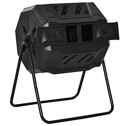 Outsunny Compostador de Tambor Giratorio con Capacidad 160 litros de Doble Cámara y Ventilación Marco de Acero para Residuos Orgánicos de Jardín 71x64x92 cm Negro