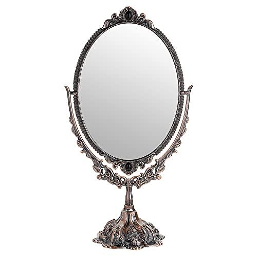 SUMTREE Espejo de maquillaje con espejo decorativo vintage ovalado y doble cara espejo para mesa, fotografía (Dressing grande, cobre rojo)