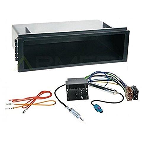 Sound-way Kit Montage Autoradio, Cadre Façade 1 DIN avec Supports de Montage, Cable Adaptateur Connecteur ISO, Adaptateur Antenne Compatible avec VW Volkswagen Lupo, Fox, T5, Passat, Golf IV