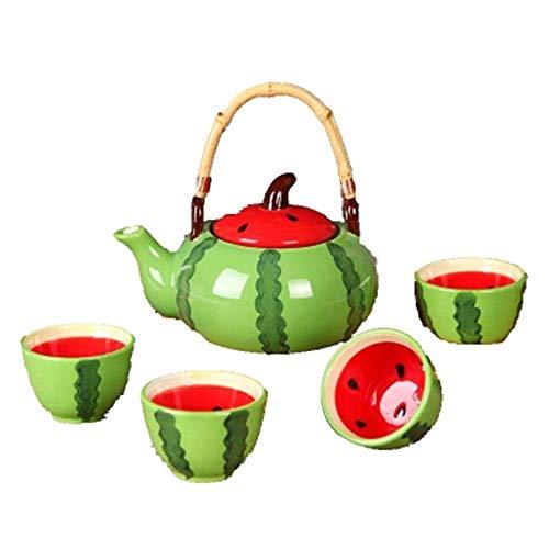 JIANGPENG Juego de Taza de café de sandía Juego de té de Frutas Creativas Juego de Tetera de Regalo de Taza de cerámica