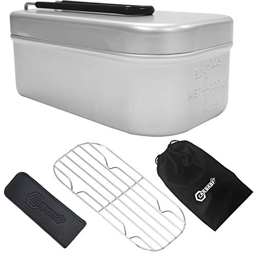 メスティン アルミ飯盒 ハンドルカバー付き メッシュトレイ付き キャンプ用品 半自動炊飯 飯盒 バリ取り済み 登山 ピクニック ツーリング 収納袋付き