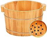 Cuenco de baño de pie portátiles para el hogar, lavabo de pie natural de madera con tapa con tazón y baño de baños de spa de pies massager, dormir en el hogar, mejorar, b