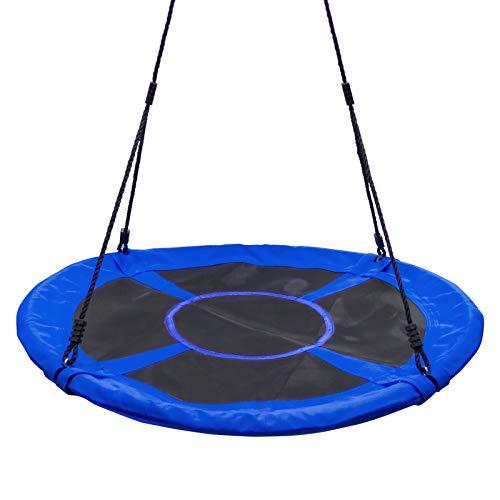 Yorbay Nestschaukel Tellerschaukel Kinder Rundschaukel Outdoor Ø 120 cm, Blau, kein verbleichen, bis 200 kg belastbar Mehrweg