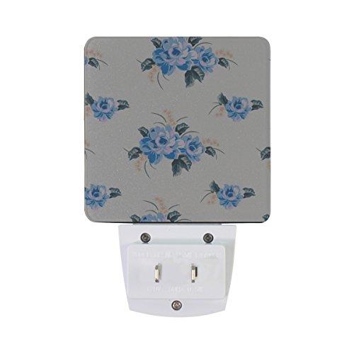 XinMing White Blue Flower LED Sensor Night Light Super Bright Power Dusk To Dawn Sensor Bedroom Kitchen Bathroom Hallway Toilet Stairs Energy Efficient Compact(2 PACK)