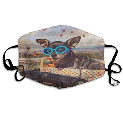 Verstelbare oorlus, herbruikbare outdoor mondhoes, volwassenen kinderen ademende neushoes, vintage schattige Chihuahua in fiets mand hete lucht ballon anti-vervuiling, stof-proof veiligheid Respirator, winddicht gezicht P