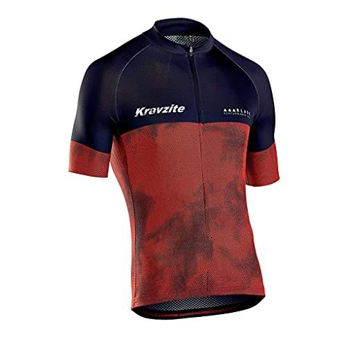 Kravzite Men's Cycling Jersey Short Sleeve with 3 Rear Pockets,Biking Shirt Full Zipper Breathable Quick Dry (L) Brown