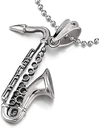 NC83 Collar con colgante de saxofón de acero inoxidable unisex para hombres y mujeres con cadena de bolas de 30 pulgadas