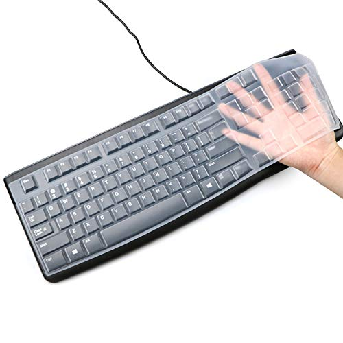 Silicone Keyboard Cover for Logitech K120 & MK120 Ergonomic Desktop USB Wired Keyboard Ultra Thin Protective Skin (for Logitech MK120 K120, Clear)