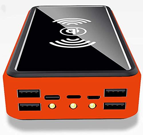CDBK Cargador Solar Inalámbrico 100000mAh Batería Externa, Power Bank Solar con Nuevo IC de Control Inteligente y 5 Salida y Linterna LED, Cargador Portátil para Smartphones, Tabletas, Camping