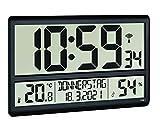 TFA Dostmann Reloj de Pared Digital XL 60.4520.01, con Temperatura y Humedad, día de la Semana (8 Idiomas), Reloj controlado por Radio, fácil de Leer, Grande, Negro, plástico, 360 x 235 x 28 mm (84)