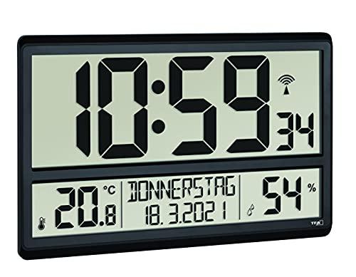 TFA Dostmann XL Wanduhr digital, 60.4520.01, mit Temperatur und Luftfeuchtigkeit, Wochentag (8 Sprachen), Funkuhr, gut ablesbar, groß, schwarz, Kunststoff, (L) 360 x (B) 235 x (H) 28 (84) mm