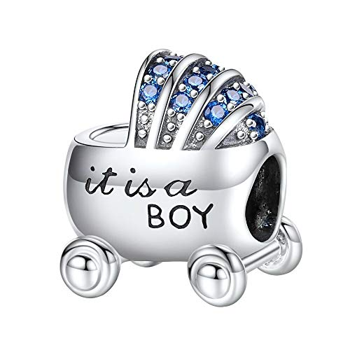 Bolenvi It's A Boy Baby Carriage Stroller Blue CZ 925 Sterling Silver Charm Bead for Pandora & Similar Charm Bracelets or Necklaces