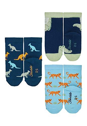 Sterntaler Baby-Jungen Söckchen 3er-Pack Zootiere Socken, Blau (Marine)/Dunkelblau/Hellblau (Himmel), 23-26