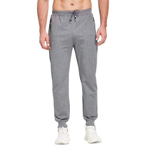 Tansozer Mens Lightweight Joggers Sweatpants with Zipper Pockets and Elastic Bottom Track Pants (Dark Gray, Medium)