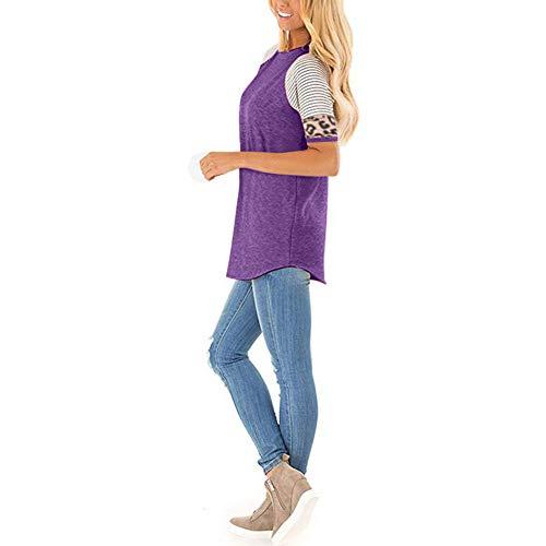 SLYZ Summer Ladies 'New Casual Col Rond Imprimé Léopard Coutures à Manches Courtes Mode Tout-Match Chemisier Rayé Couleur Contraste T-Shirt Femme