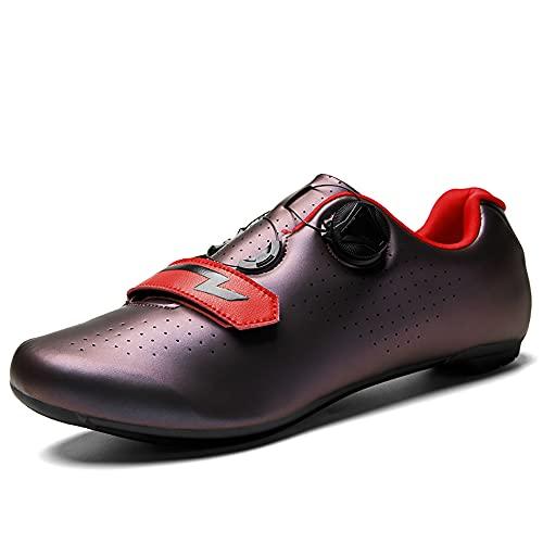 Profesional Autoblocante Ciclismo MTB Zapatos De Cuero Espejo Superior Zapatillas De Bicicleta De Montaña De Los Hombres Al Aire Libre Antideslizante Bicicletas Grapa del (Size:40,Color:Rojo oscuro-B)