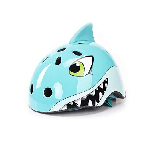 linjunddd Seguridad Niños Casco Shark Forma De Dibujos Animados Equipo De Protección Transpirable Casco De Deportes Casco Ciclismo Patinaje De Lo Esencial De La Bicicleta Infantil M