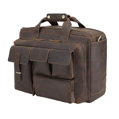 Tiding Mens Leather Briefcase Messenger Bag Vintage 17.3 Inch Laptop Shoulder Bag with YKK Metal Zipper & Detachable Laptop Sleeve