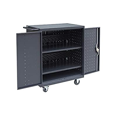 """Pearington 24 Bay Rolling, Charging Cart Station for Classroom and Office- for use with Chromebooks, iPad, Tablets and Laptop Computers; Secure Locking Cabinet Storage-Store up to 15"""" Size"""
