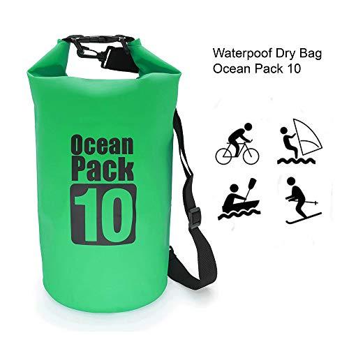 Ocean Pack Borsa Impermeabile, Sacca Impermeabile per Kayak Boat, Canottaggio/Pesca/Rafting/Nuoto/Snowboard/Sci; Zaino Impermeabile, Waterproof Dry Bag 10 L Verde