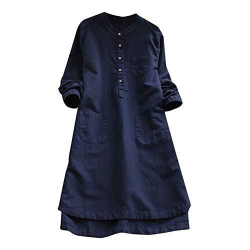 VJGOAL Damen Kleid, Damen Lässige Retro-Baumwolle und Leinen Knopf Lange Tops Bluse Lose Lange Ärmel Mini Hemd Kleid … (46, Marine)