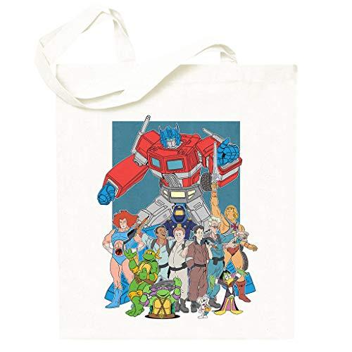 80s Cartoon Heroes Optimus Prime Ghostbusters Totebag