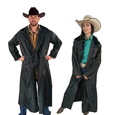 American Cowboy Saddle Slicker Rain Coat Duster – 100% Waterproof Full Length Unisex (Black, Large) from