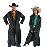 Southwestern Equine American Cowboy Saddle Slicker Rain Coat Duster – 100% Waterproof Full Length Unisex (Black, Medium)