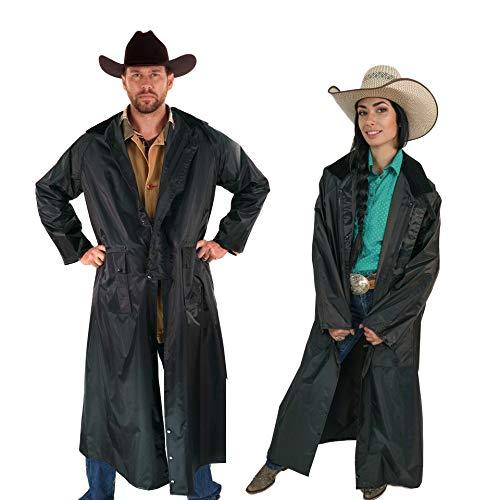 American Cowboy Saddle Slicker Rain Coat Duster – 100% Waterproof Full Length Unisex (Black, Medium)
