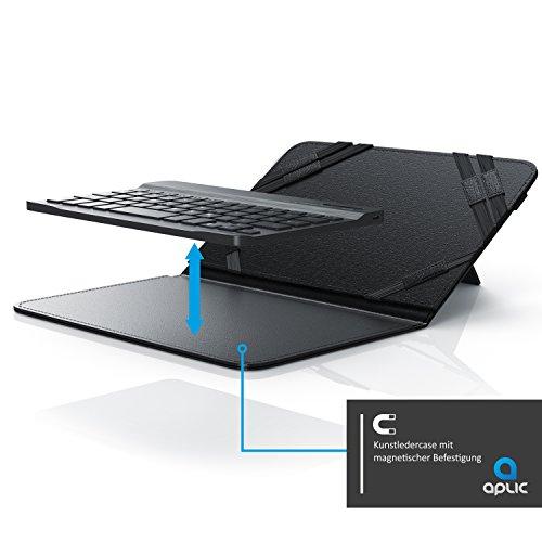 CSL - Bluetooth Slim Tastatur für Tablets 7-8 Zoll inkl. Kunstledercase - Wireless Keyboard im Slim Design - QWERTZ Deutsch - FN-Funktionstasten