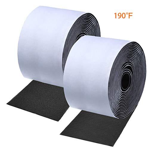 ANDERK 11CM Breite 2 Meter Lang Hochtemperaturbeständigkeit Klettband Selbstklebend Extra Stark Klettverschluss Selbstklebend, Schwarz