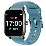 Letsfit Smart Watch Compatible with iPhone and Android Phones, Fitness Tracker with Heart Rate Monitor, Sleep Monitor & Blood Oxygen Saturation, 5ATM Waterproof Smartwatch for Women Men-Blue