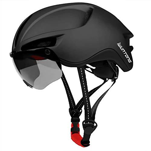 Casque de vélo adulte iWUNTONG, casque de sport cycliste avec pare-soleil amovible 60-64 cm réglable pour casque de vélo de route avec éclairage arrière rechargeable USB Lunettes magnétiques amovibles