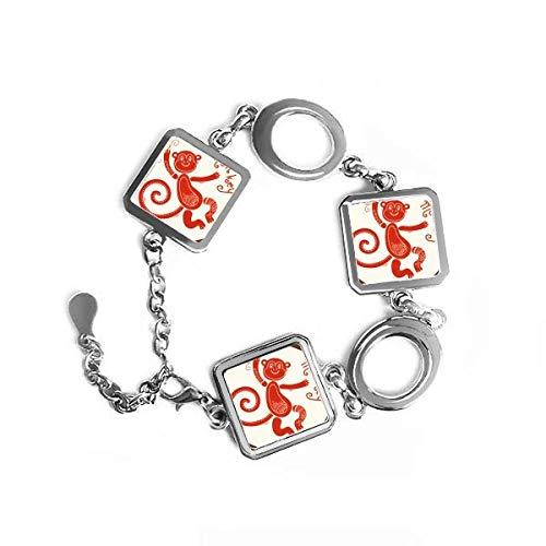 Pulsera de metal con forma cuadrada de zodíaco rojo y cadena de joyería para decoración de regalo