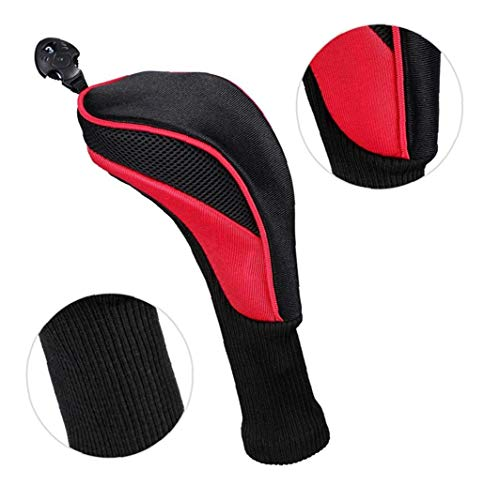 Black Golf Head Covers Driver 1 3 5 Fairway Woods Headcovers Long Neck 1680D Knit Head Covers for Golf Club Fits All Fairway and Driver Clubs 3pcs Red