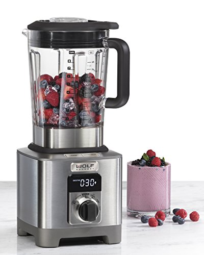 Wolf Gourmet High-Performance Blender, 64 oz Jar, 4 program settings, 12.5 AMPS, Blends Food, Shakes and Smoothies, Black Knob, Stainless Steel (WGBL110S)