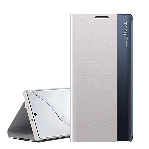 QC-EMART Coque Folio pour Samsung Galaxy S10 Noir Roi, Étui Rabat Smart View Miroir Case Fenêtre d'affichage Fonction Sommeil/Réveil Automatique Flip Housse Protection pour Samsung S10
